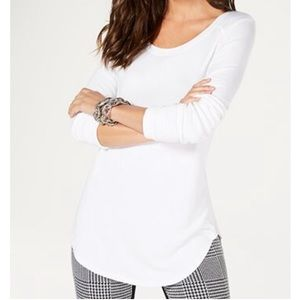 INC International Concepts White Ribbed LS Top L